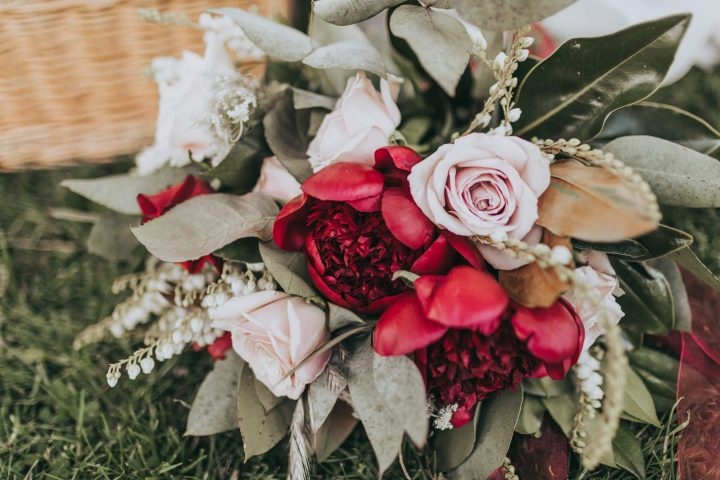 Stacey and Hamish bridal bouquet red peonies