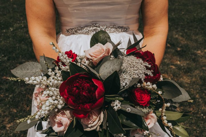 Stacey and Hamish red bridal bouquet